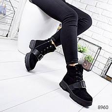 """Ботинки женские зимние, черного цвета из эко замши """"8960"""". Черевики жіночі. Ботинки теплые, фото 2"""