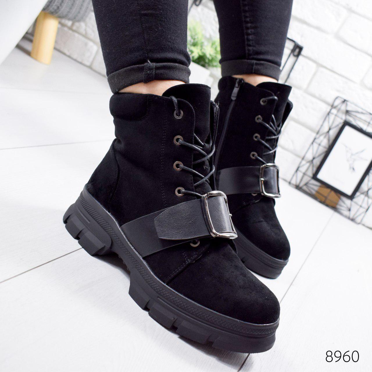 """Ботинки женские зимние, черного цвета из эко замши """"8960"""". Черевики жіночі. Ботинки теплые"""
