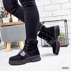 """Ботинки женские зимние, черного цвета из эко замши """"8960"""". Черевики жіночі. Ботинки теплые, фото 3"""