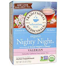 Traditional Medicinals, Органічний чай Nighty Night, валеріана, 16 окремих пакетика, 24 г, офіційний