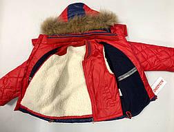 Детский зимний комбинезон для мальчика холлофайбер, внутри флис, натуральный мех Ohccmith 1901 | 74-92р., фото 2