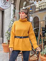 Прямой женский свитер горчичного цвета, фото 1