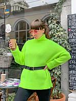 Яркий неоновый вязаный свитер прямого кроя