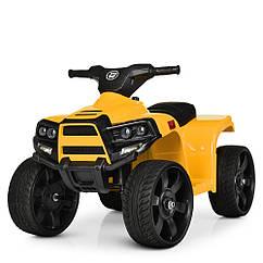 Детский электромобиль Квадроцикл M 3893 EL-6, кожаное сиденье, колеса EVA, музыка, свет, желтый