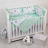 """Детская постель с бортиками-подушками и сменной постелькой """"Мятные Короны"""""""