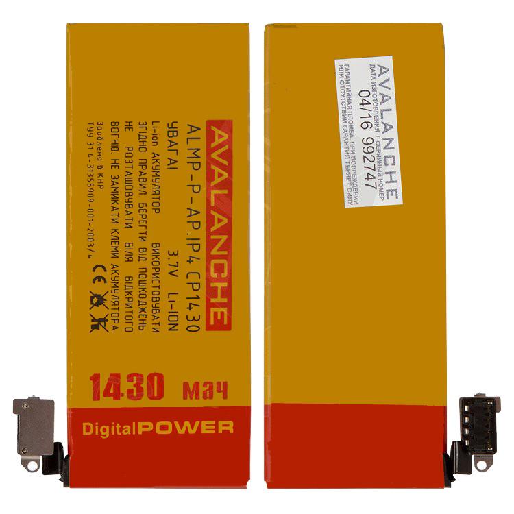 Аккумулятор (батарея, АКБ) Avalanche для Apple iPhone 4, (Li-ion 3.7V 1430мАч), #ALMP-P-AP.iP4CP1430, оригинал