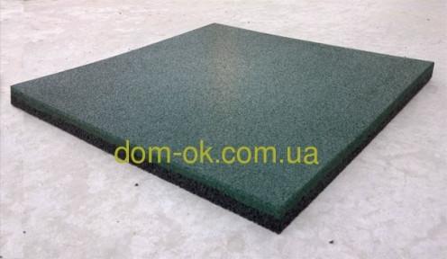 Травмобезопасная резиновая плитка для детских площадок 500*500мм, толщина 35 мм зеленый