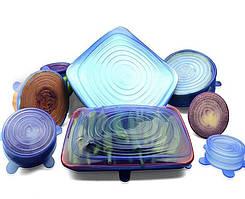 Силиконовые крышки для посуды набор 6 шт. Super Stretch Silicon Lids