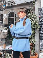 Вязаный голубой женский свитер прямого кроя, фото 1