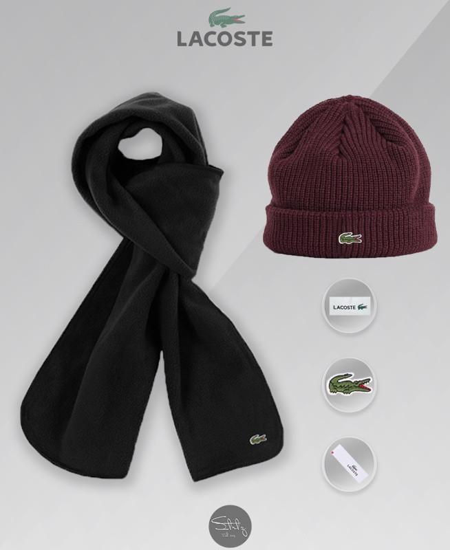 Зимний комплект шапка и шарф Lacoste (burgundy), бордовая шапка Лакосте