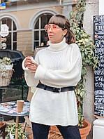 Удлиненный молочный свитер свободного кроя, фото 1