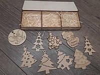 Новогодние игрушки из дерева 9 шт в подарочной коробке