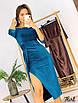Роскошное мерцающее платье миди из люрекса.с разрезом и открытыми плечами, фото 7