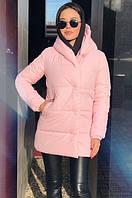 Зимняя женская куртка зефирка с капюшоном