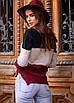 Вязаный женский трехцветный свитер, фото 7