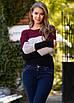 Вязаный женский трехцветный свитер, фото 4