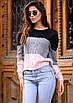 Вязаный женский трехцветный свитер, фото 2