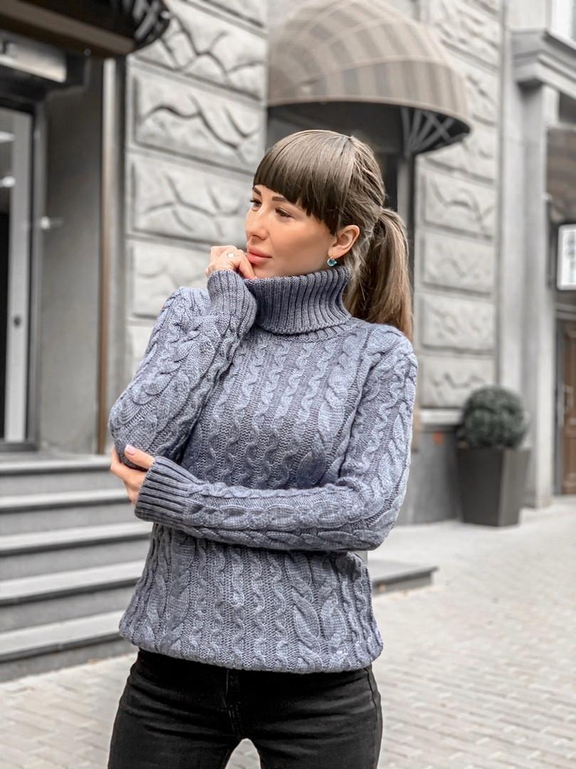 Вязаный свитер цвета серый джинс