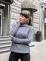 Вязаный свитер цвета серый джинс, фото 1