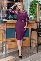 Нарядное платье с поясом из костюмного крепа, верх флока на сетке, узкий низ юбки (50-56)