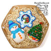 Мило ручної роботи новорічне в наборі, новорічний подарунок, мило в подарунок