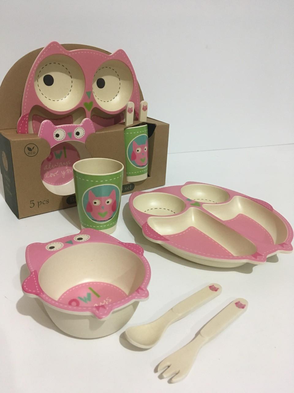 Набір дитячої бамбуковій посуду 5в1 EL-246-4 (24 шт/ящ)