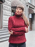 Теплый бордовый свитер с выоским горлом, фото 1