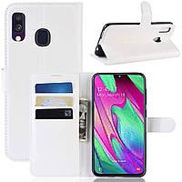 Чехол-книжка Litchie Wallet для Samsung A405 Galaxy A40 Белый