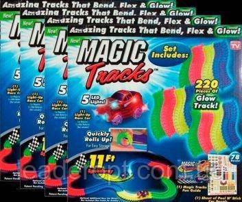 [ОПТ] Детская гоночная трасса Magic Tracks на 220 деталей с машинкой. Светящийся гоночный трек-конструктор.