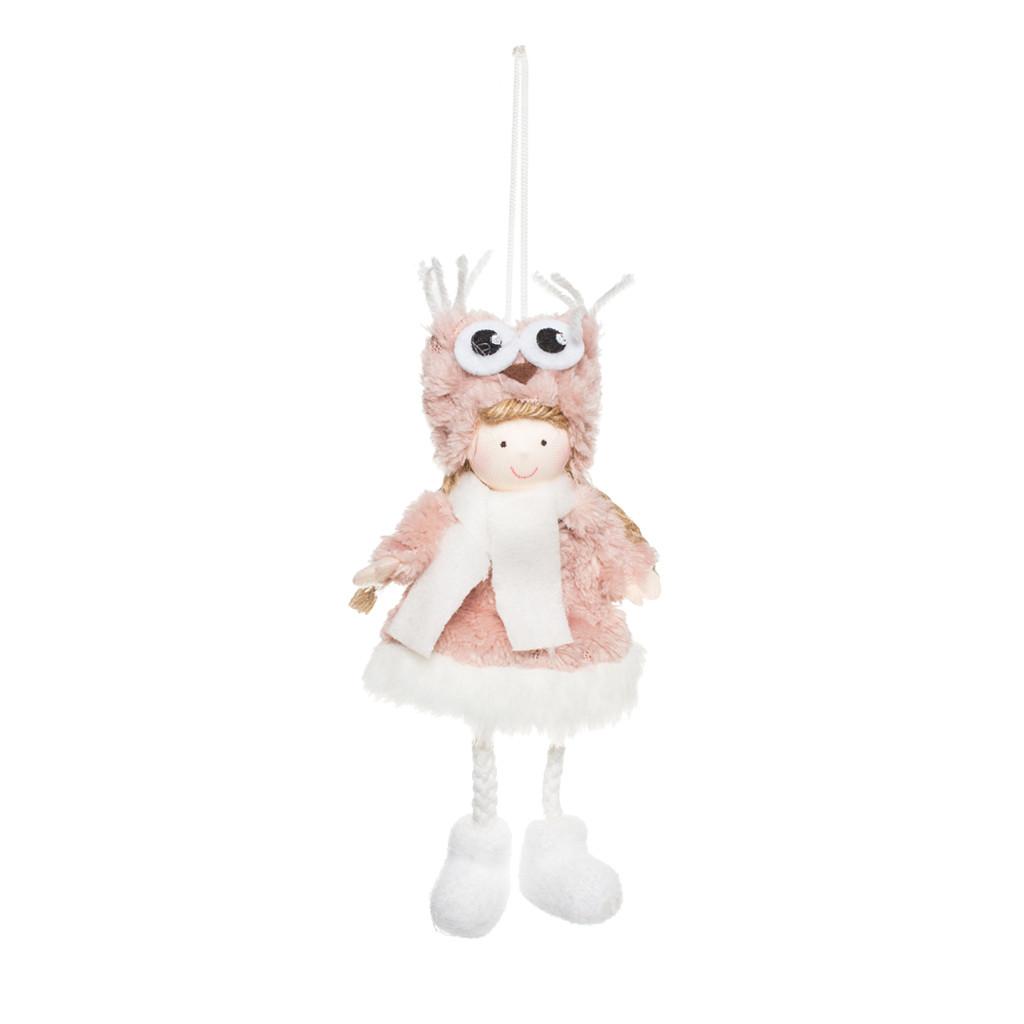 Ангел Девочка Совёнок розовая 18см 109408