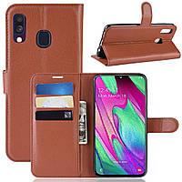 Чехол-книжка Litchie Wallet для Samsung A405 Galaxy A40 Коричневый