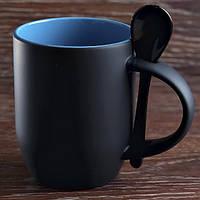 Чашка сублимационная хамелеон с ложкой (Черный)