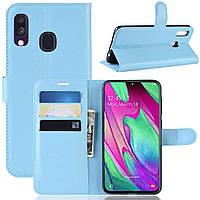 Чехол-книжка Litchie Wallet для Samsung A405 Galaxy A40 Голубой