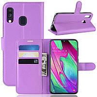 Чехол-книжка Litchie Wallet для Samsung A405 Galaxy A40 Фиолетовый