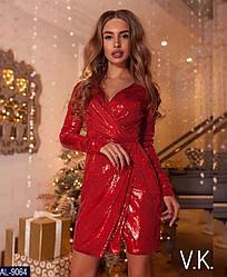 Платье женское паетка нарядное вечернее стильное размеры 42 44 46 новинка 2019 цвета красного