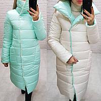 Куртка одеяло евро-зима двухсторонняя арт. 1006 молочный с мятой / мята с молоком