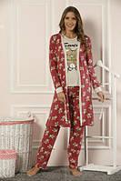 Пижама с халатом женская 22027 хлопок Sexen