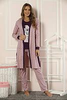 Пижама с халатом женская 22038 хлопок Sexen
