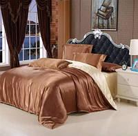Постельное белье Атлас Бронза и Золото Комплект постельного белья полутороспальный, евро, двуспальный