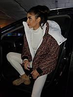 Пуховик женский объемный теплый двухсторонний с капюшоном плащевка с принтом в стиле Fendi Gm1089
