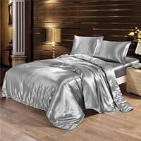 Постельное белье Атлас Серебро Комплект постельного белья полутороспальный, евро, двуспальный