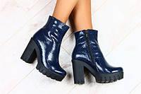 Ботинки демисезонные на каблуке кожаные синий питон, фото 1