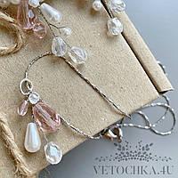 Кулон-подвеска розовая ручной работы, свадебная подвеска на цепочке