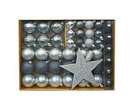 F1-00437, Набор новогодних игрушек на елку, 43 ед., , серебро-серый