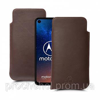 Футляр Stenk Elegance для Motorola One Vision Коричневый