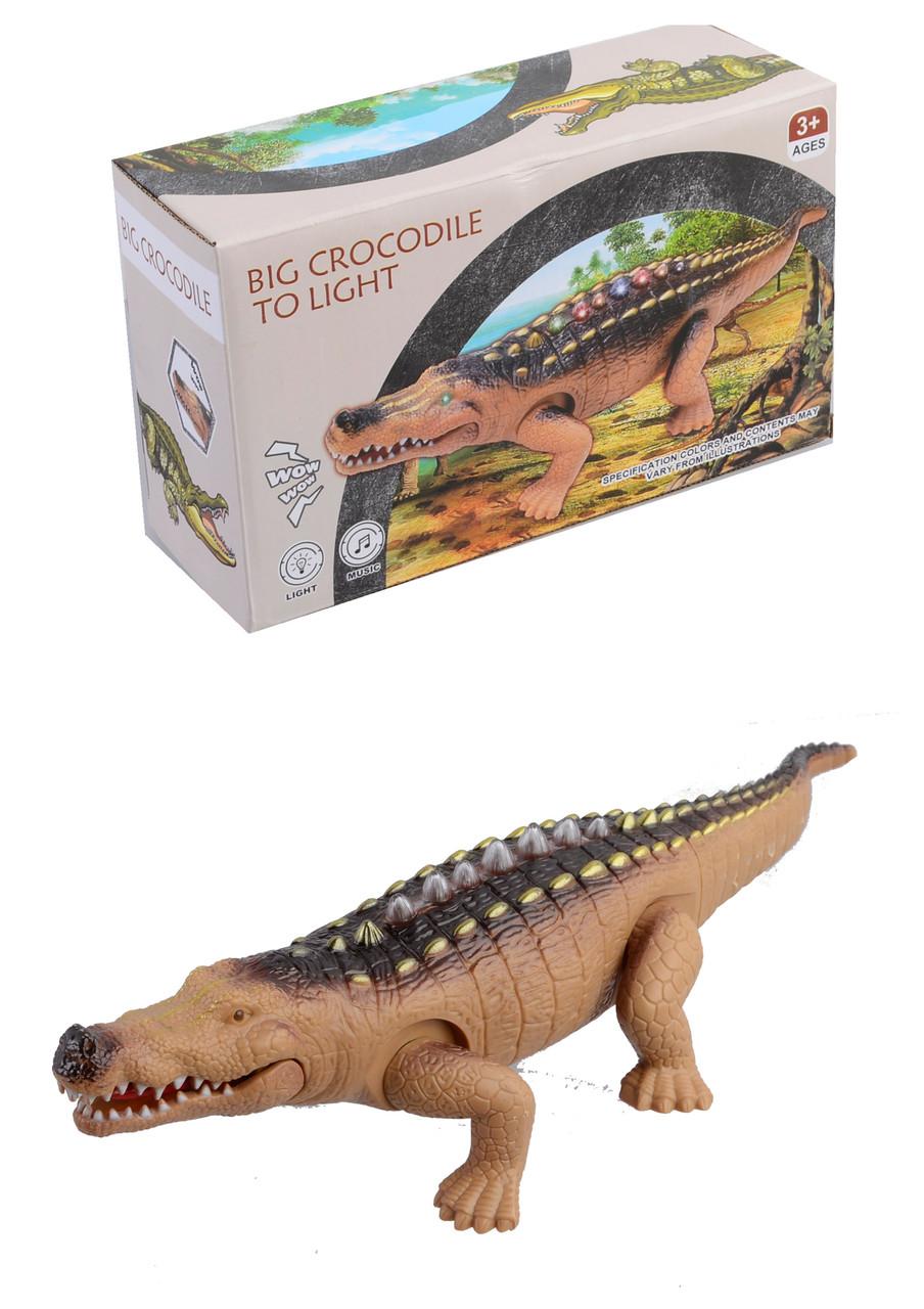 Животные крокодил,  на батарейках, звук, свет, 9789-44
