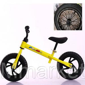 """Беговел 12"""" TILLY T-212514 Yellow, надувные колеса"""