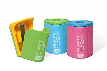 Точилка пластиковая с контейнером и клипом Pastel, 1 лезвие