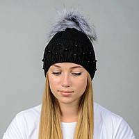 Вязаная женская шапка Nord с меховым помпоном Черный wpnfibi16, КОД: 388315