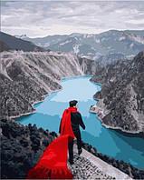 """Картина по номерам BrushMe Премиум """"Красный шарф на гребле Деринер"""" 40х50см в подарочной упаковке PG"""